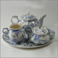 Blue Toile Tea Set for Two