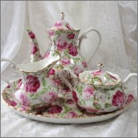 Tea Pot, Tea Set for Two with lots of Pink Roses