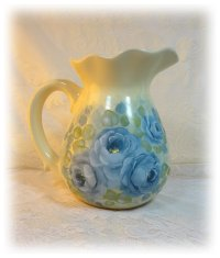Blue Roses on French Style Pitcher