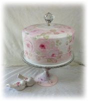 Hand Painted HP Roses Cake Carrier-Stand-Saver