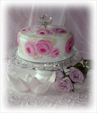 Hand Painted Cake Saver Set with Pedestal