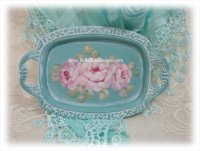 Shabby Romantic Ring Tray with Hand Painted Roses