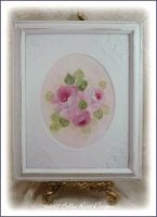 Romantic Rose Painting Framed with Lace
