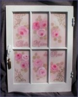 Vintage French Hand Painted Roses Window