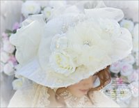 Ivory Bridal Hat for Romantic Victorian Wedding