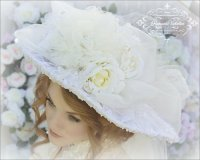 Climbing Roses Ivory Creme Victorian Bridal Hat