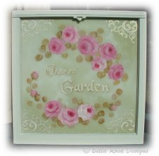 Shabby Hand Painted Roses Window