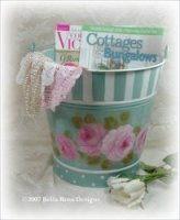 Pretty Enamelware & Roses Bucket