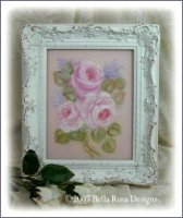 Gorgeous Framed Rose Painting on Glass