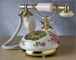 French Telephone in Porcelain with Rose Design