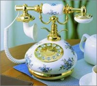 French Porcelain Telephone with Blue Floral Design